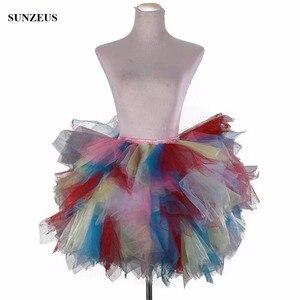 Image 1 - Tulle Petticoat ชุดสาวสี Underskirts สั้น Tutu Crinolina Fluffy เวทีเต้นรำกระโปรง Jupon