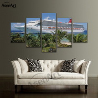 5 Pieces Set Sea Boat Picture Sailboat Yacht Cruises Wall Art Canvas Prints Painting For Living