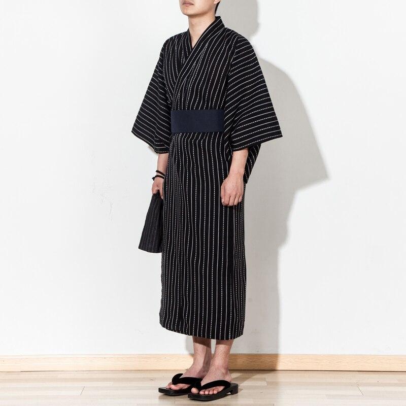 4 pièce/ensemble automne traditionnel japonais Kimono Costume avec obi sac ventilateur hommes salle de bains spa robe coton robe de chambre 062503