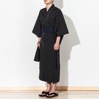 4pc/set Autumn Traditional Japanese Kimono Costume with obi bag fan Men bathroom spa robe Cotton dressing gown 062503