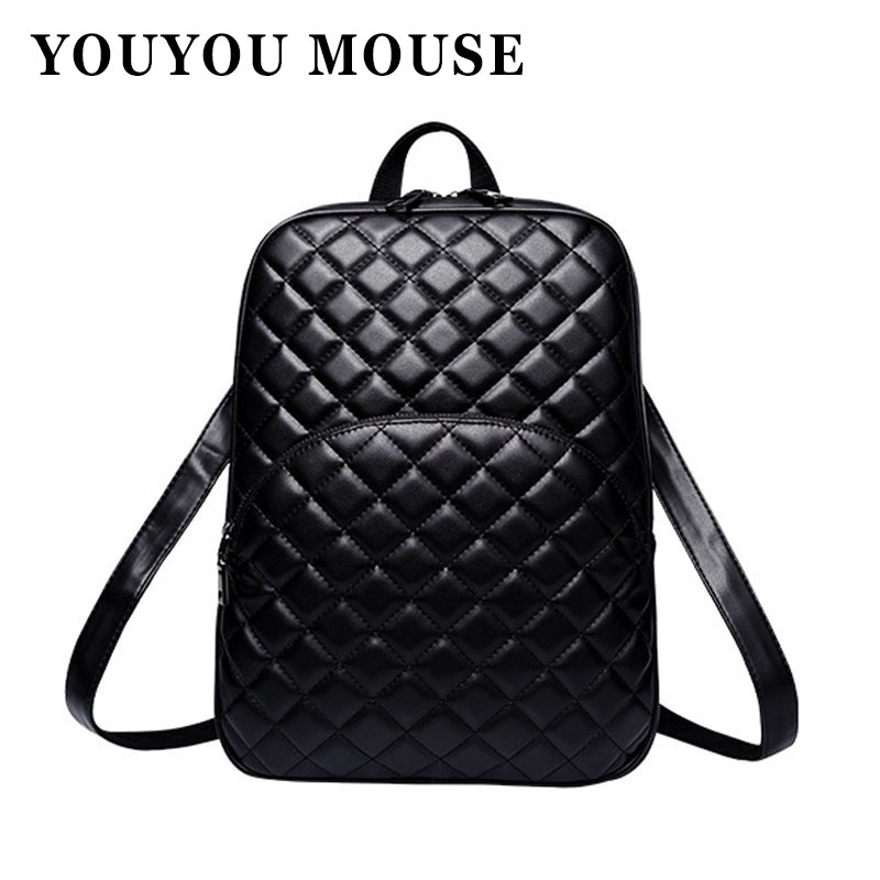 YOUYOU MOUSE New Women Backpack Fashion PU Leather Backpack For Teenage Girls Bag Solid Color Checkered