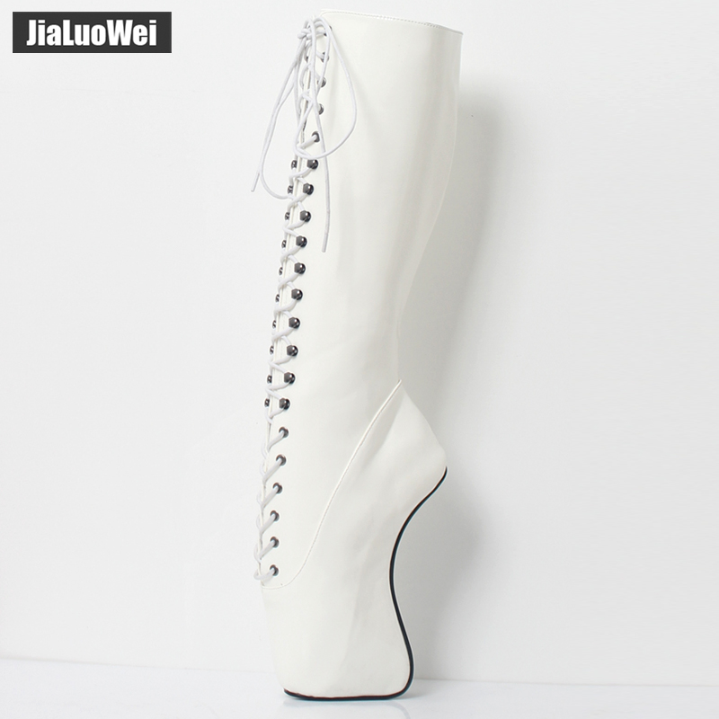 Image 3 - 2018 New Arrive 18CM High Heel Ballet Wedge Hoof Fetish Lace up Knee High Unisex Ballet Pinup Boots-in Knee-High Boots from Shoes