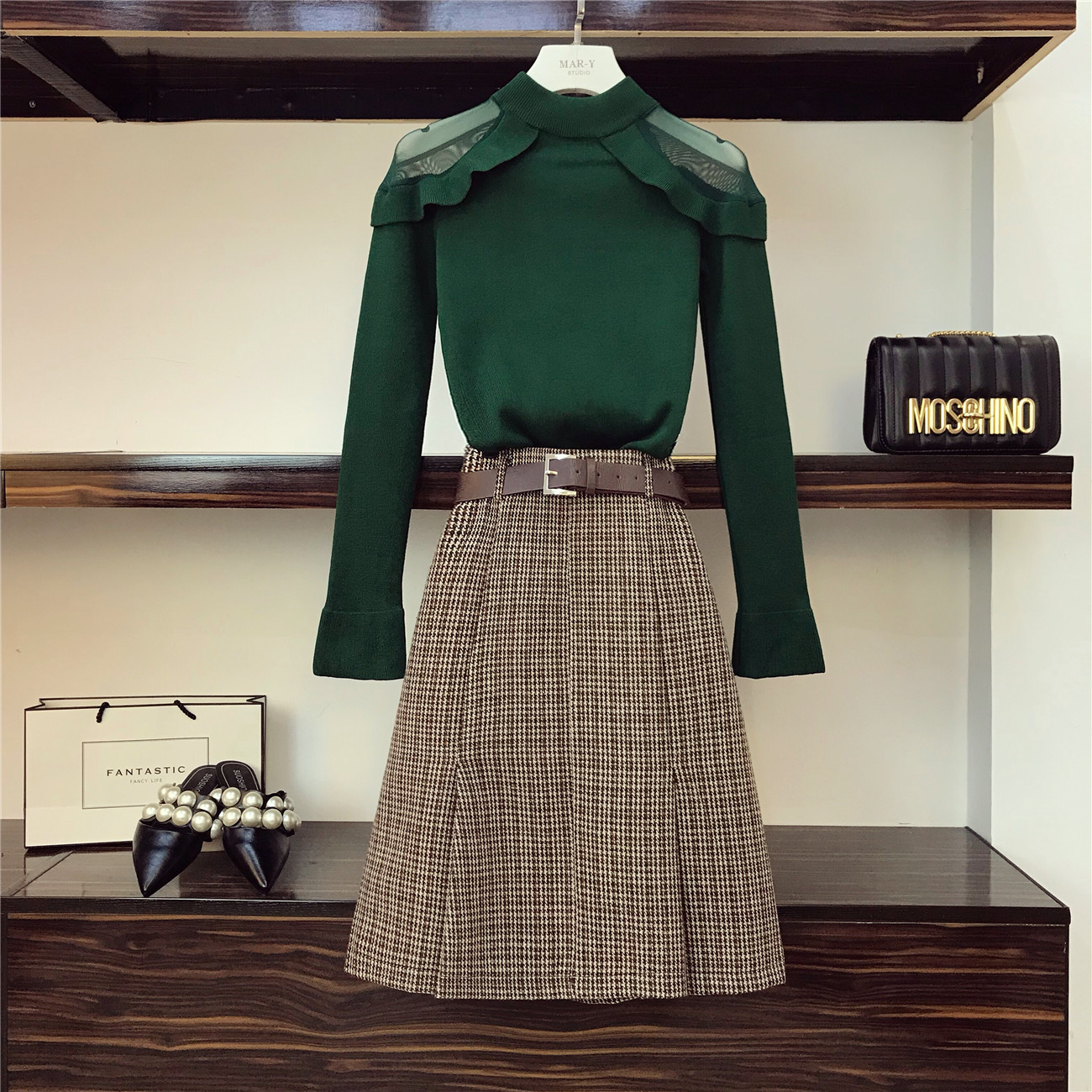 2018 Lattice Skirts Set Women's Autumn Clothes Sexy Gauze Off Shoulder Knitted Sweater + High Waist Skirt Two Piece Skirt Suits