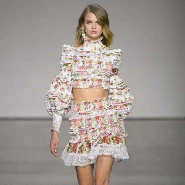 e9e054848d Runway Designer Set Women Noble Fancy Floral Printed Luxury Lace Patchwork  Crop Top Mini Skirt Cute Suit Female High Quality New