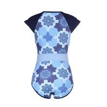 Bikini 2018 Blue Print Sexy Women Swimwear One Piece Suits Beach Wear Push Up Swimsuit New Short Sleeve Swimming Suit