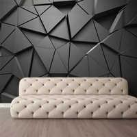 Papel de pared personalizado wellyu, papel pintado 3d a la moda, mural fotográfico, fotomural, fotomatón, estereoscópico, geométrico, abstracto, gris, triángulos, papel tapiz de fondo