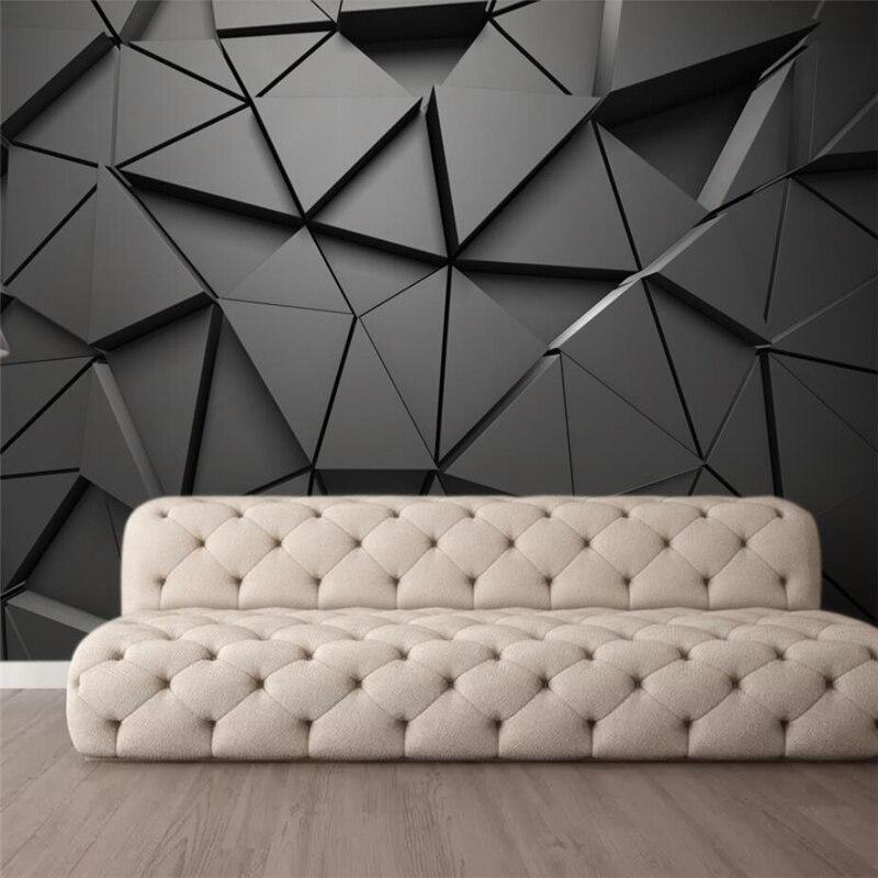 Papel de parede papel pintado personalizado a la moda 3d foto mural estéreo geométrico abstracto gris triángulos Fondo papel tapiz