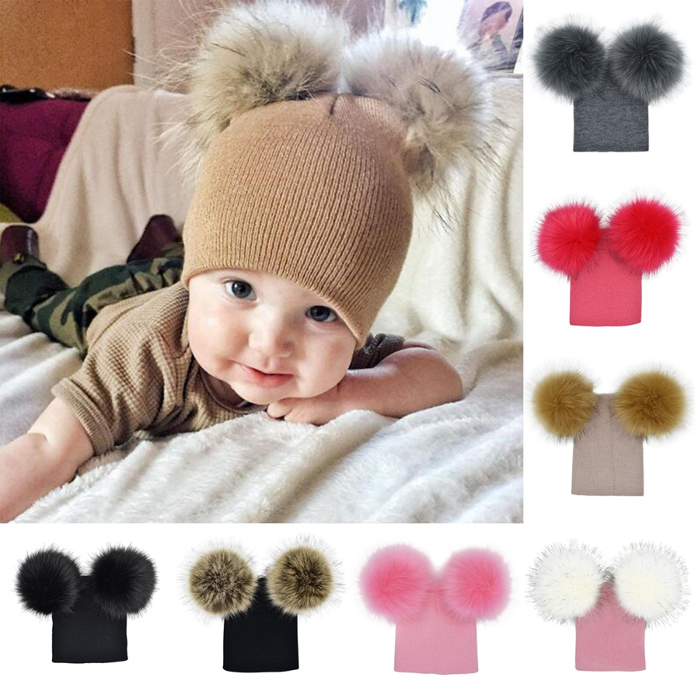 62f3f248b1c Puseky Winter Warm Beanie Double Ball Earflap Knitted Cap Toddler ...