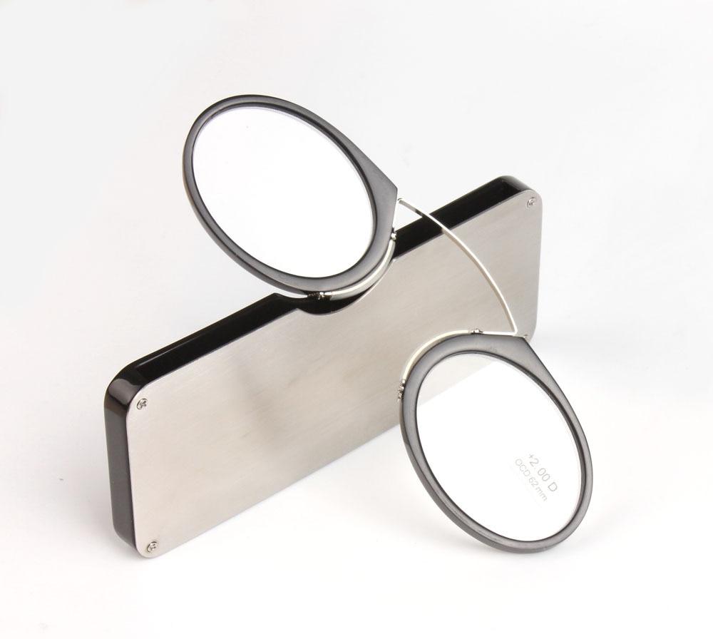 Přenosné klipsy presbyopické brýle Kapesní brýle na čtení s pouzdrem mini presbyopické brýle Velikost Emergency Glass