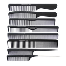 8 pcs/set Black Professional Combs Hairdressing New Tail Comb Two Carbon Anti Static Comb Hair Cutting Combs Set