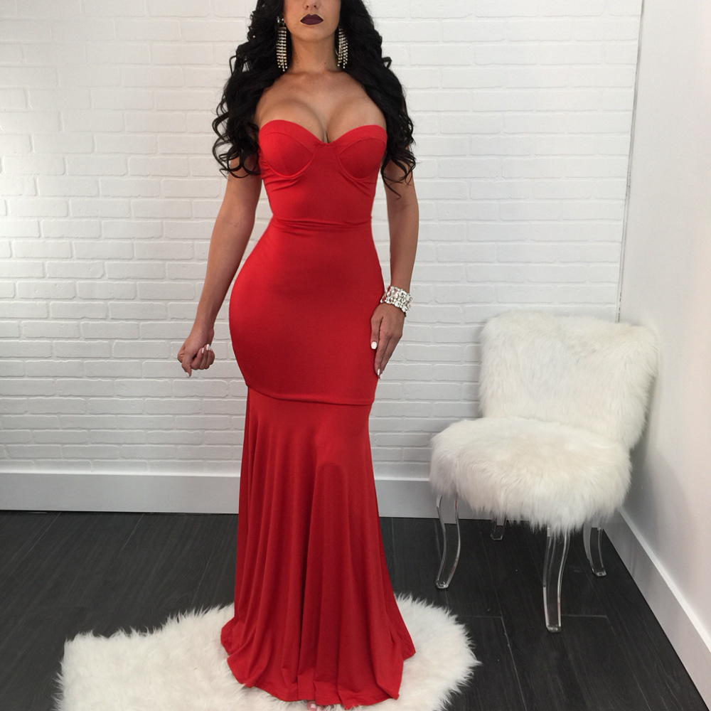 Sexy Long   Evening     Dresses   Sweetheart Sleeveless Mermaid Formal   Dress   Stretchy Ruffles Robe De Soiree Longue 2018 Red Party Gown