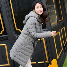 Winter Jacket Women  Cotton Medium Hooded Warm Parkas 2017 New Girls Padded Slim Outwear