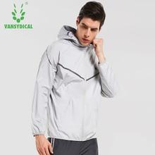 Men's Zipper Running Jackets Fitness Training Hoodies Vansydical Hot Sweat Workout Gym Clothes