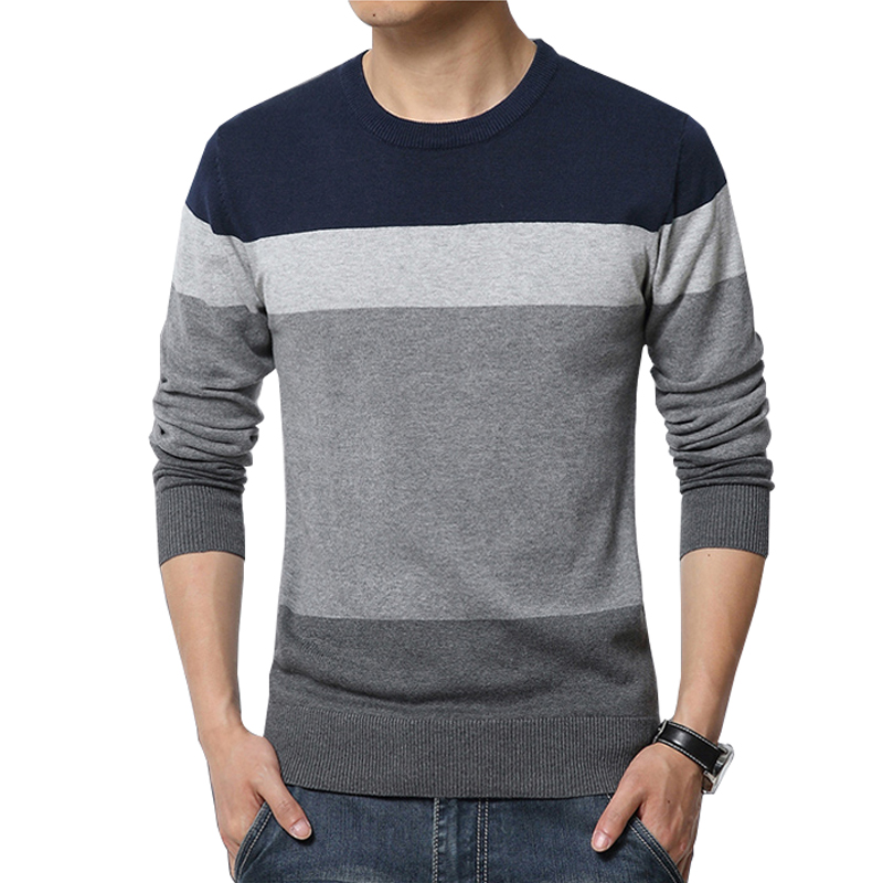 Autumn New Arrival Sweater Men 2018 Casual Pullover Sweater Plus Size Striped Patchwork Pullover Men Slim Fit Knittwear Mens 4XL