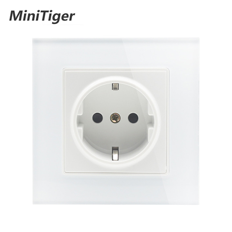 MiniTiger Wall Crystal Glass Panel Power Socket Plug Grounded, 16A EU Standard Electrical Outlet 86mm * 86mm