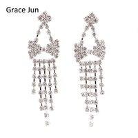 2017 New Style Fashion Rhinestone Bowknot Shape Long Tassel Dangle Drop Earirngs for Women Big Statement Earrings Christmas Gift