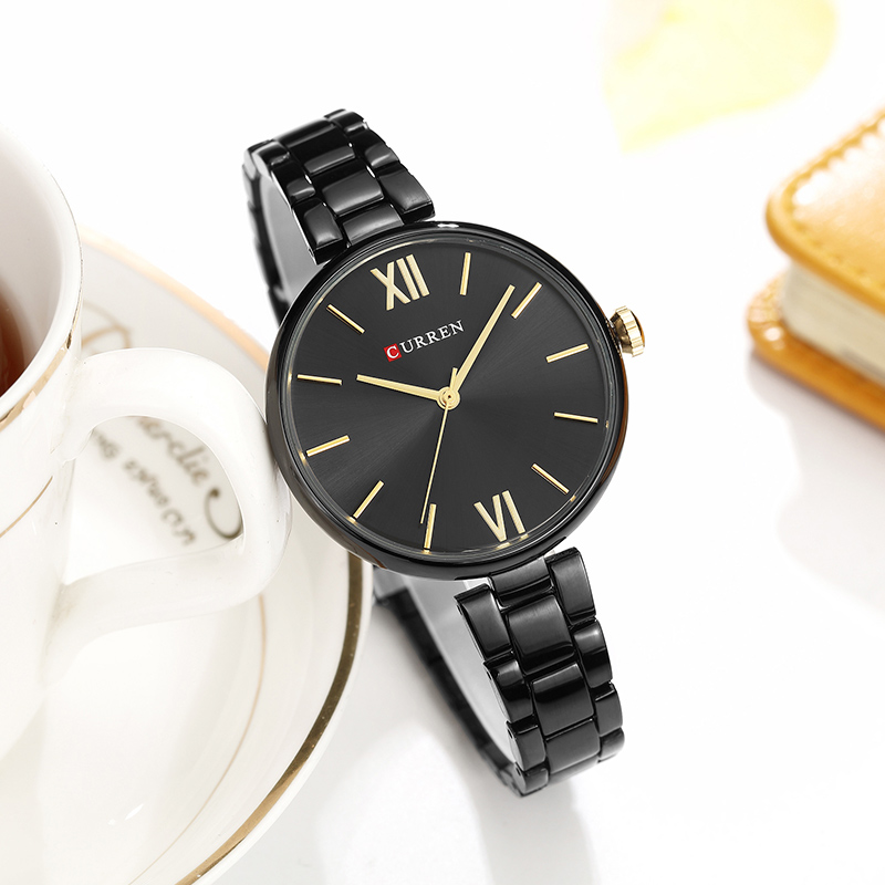 CURREN Black Women Watches Top Brand Luxury Stainless Steel Ladies Watches 2019 Simple Ladies Watch Small Dial Bayan Kol Saati(China)