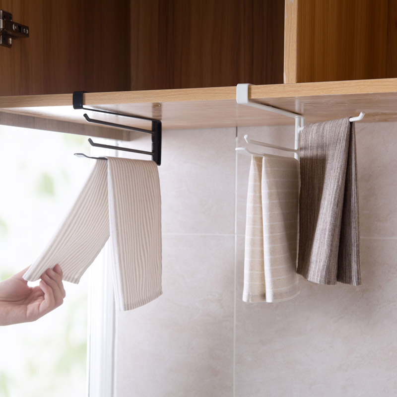 Rotating Rag Storage Rack Shelf Kitchen Cabinet Hanging Towel Organizer Bathroom Free Punching Bar Rod In Holders Racks