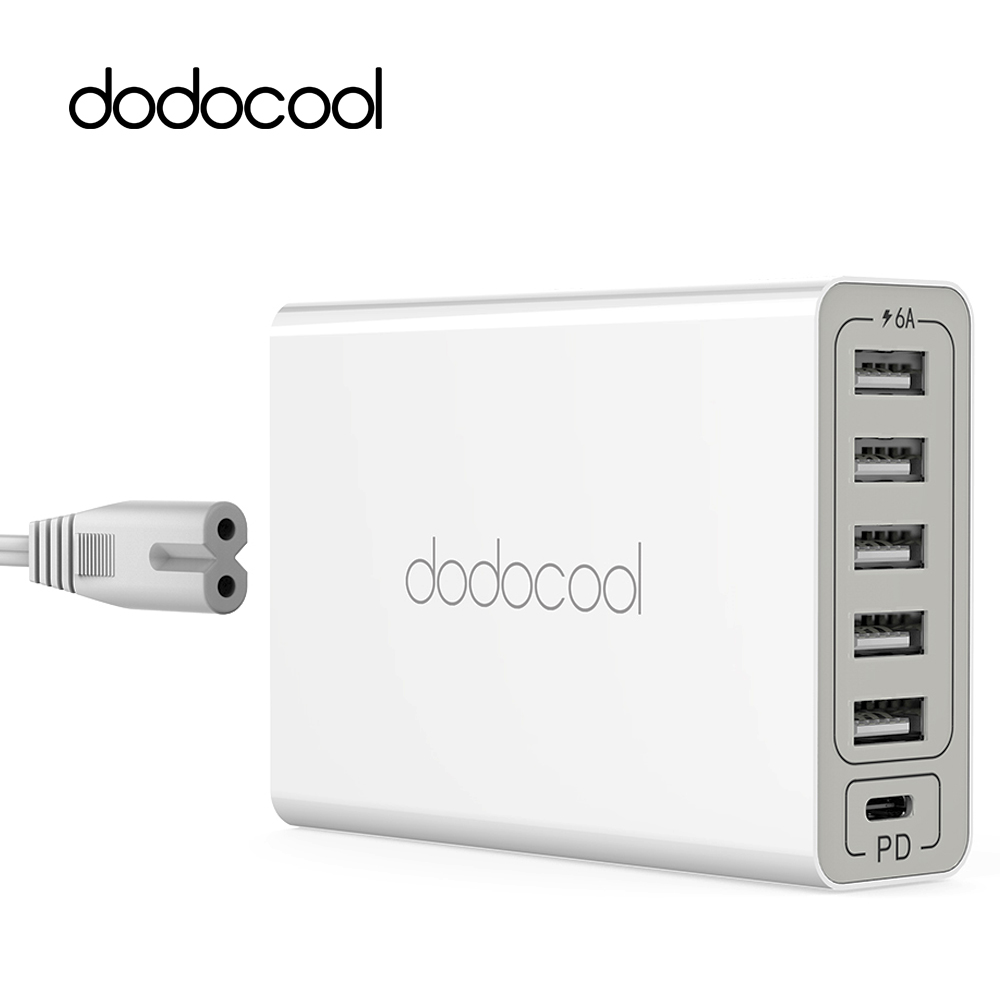 dodocool 6 port 60w usb charger with usb c power delivery travel wall charger for samsung galaxy. Black Bedroom Furniture Sets. Home Design Ideas