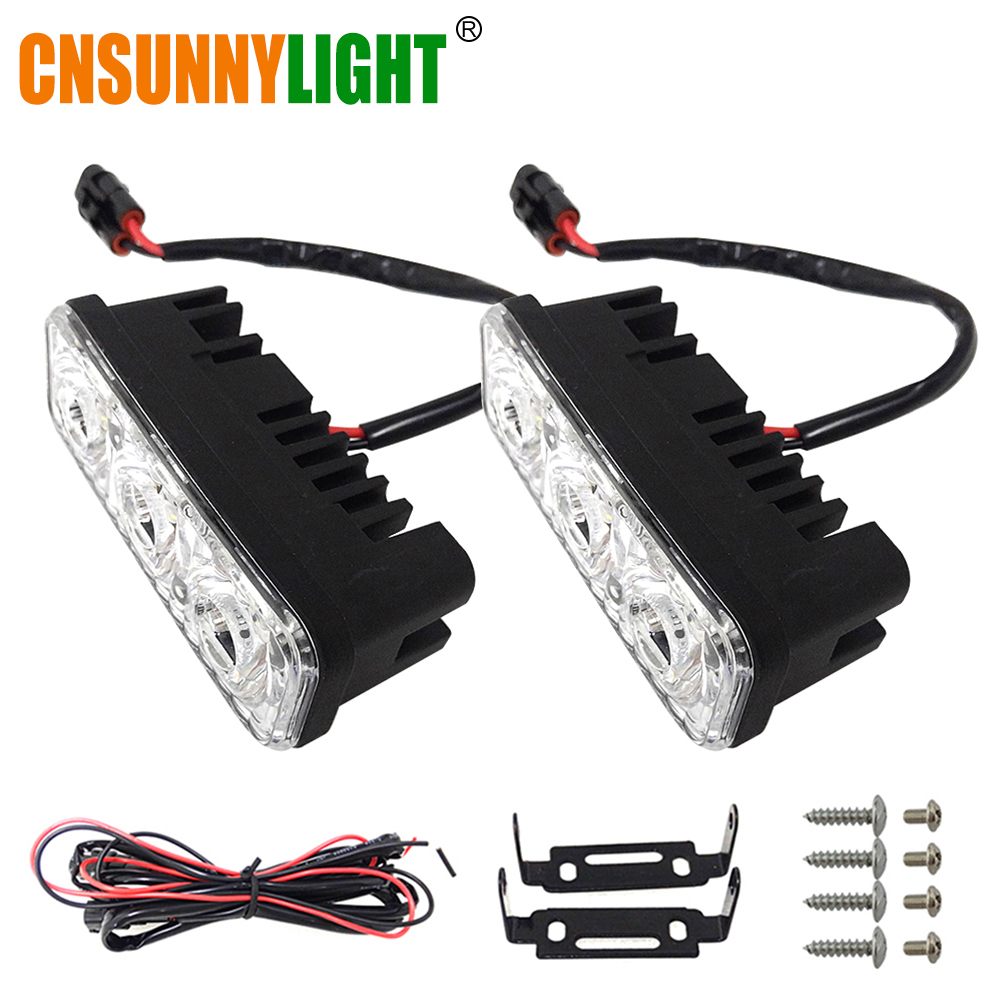 CNSUNNYLIGHT Waterproof Car High Power Aluminum LED Daytime Running Lights with Lens DC12V Super White 6000K DRL Fog Lamps flexible bandable straight line cob drl daytime running lights dc12v 16w high power white e4 waterproof car fog lights