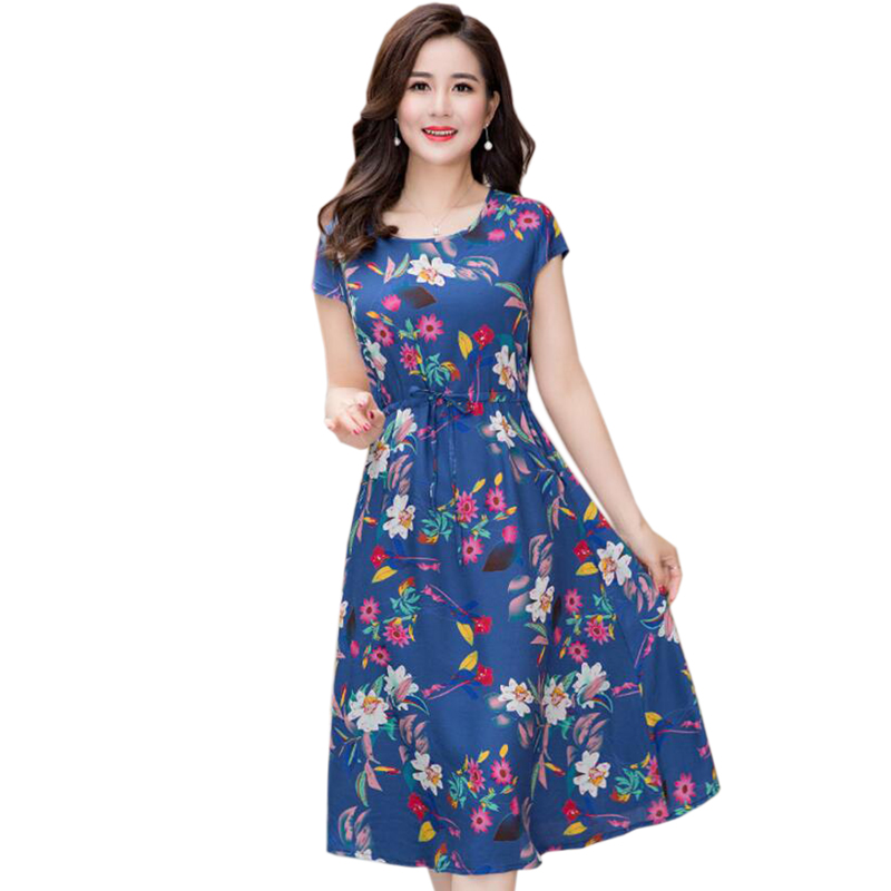 2018 New Women Dress fashion casual knee-length dress Elegant printing O-neck A-line Vestidos women spring summer party dress