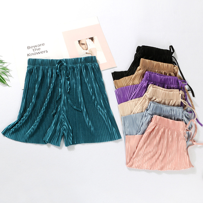 2019 Summer New Ice Silk Chiffon Pleated Shorts Women High Elastic Waist Lacing Wide Leg Pants Women Casual Loose Solid Shorts