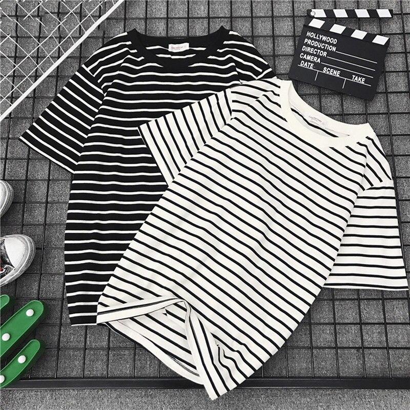 Black White Striped T-shirt Fashion Women Loose T-shirt Female Casual Tope Tees Harajuku Tshirt New Short Sleeve T Shirt