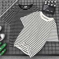 Schwarz Weiß Gestreiften T-shirt Mode Frauen Lose T-shirt Weibliche Casual Tope Tees Harajuku T-shirt Neue Kurzarm T Hemd