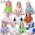 Cute Solid Hooded Baby Romper Bath Robe Panda Modeling Kids Bathrobe Cartoon Baby Towel Character Infant Colorful Beach Towels