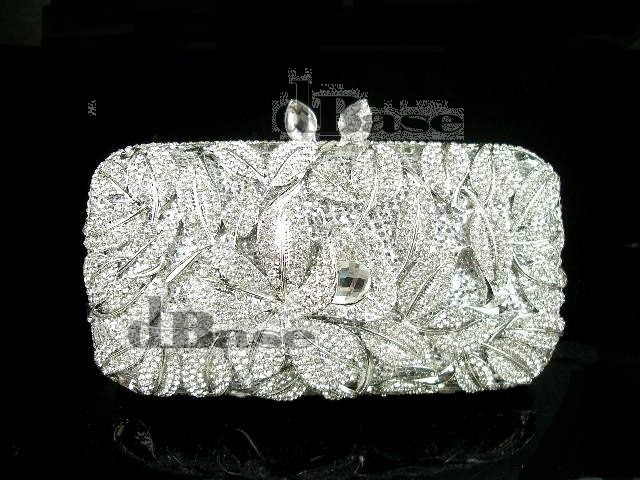 #8276 Crystal Flower Floral Lily Bridal Party Silver hollow Metal Evening purse clutch bag handbag