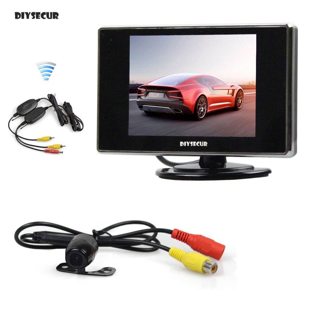DIYSECUR Sans Fil 3.5 pouce TFT LCD Moniteur De Voiture Vue Arrière Caméra Kit Caméra de Recul Aide Au Stationnement Système