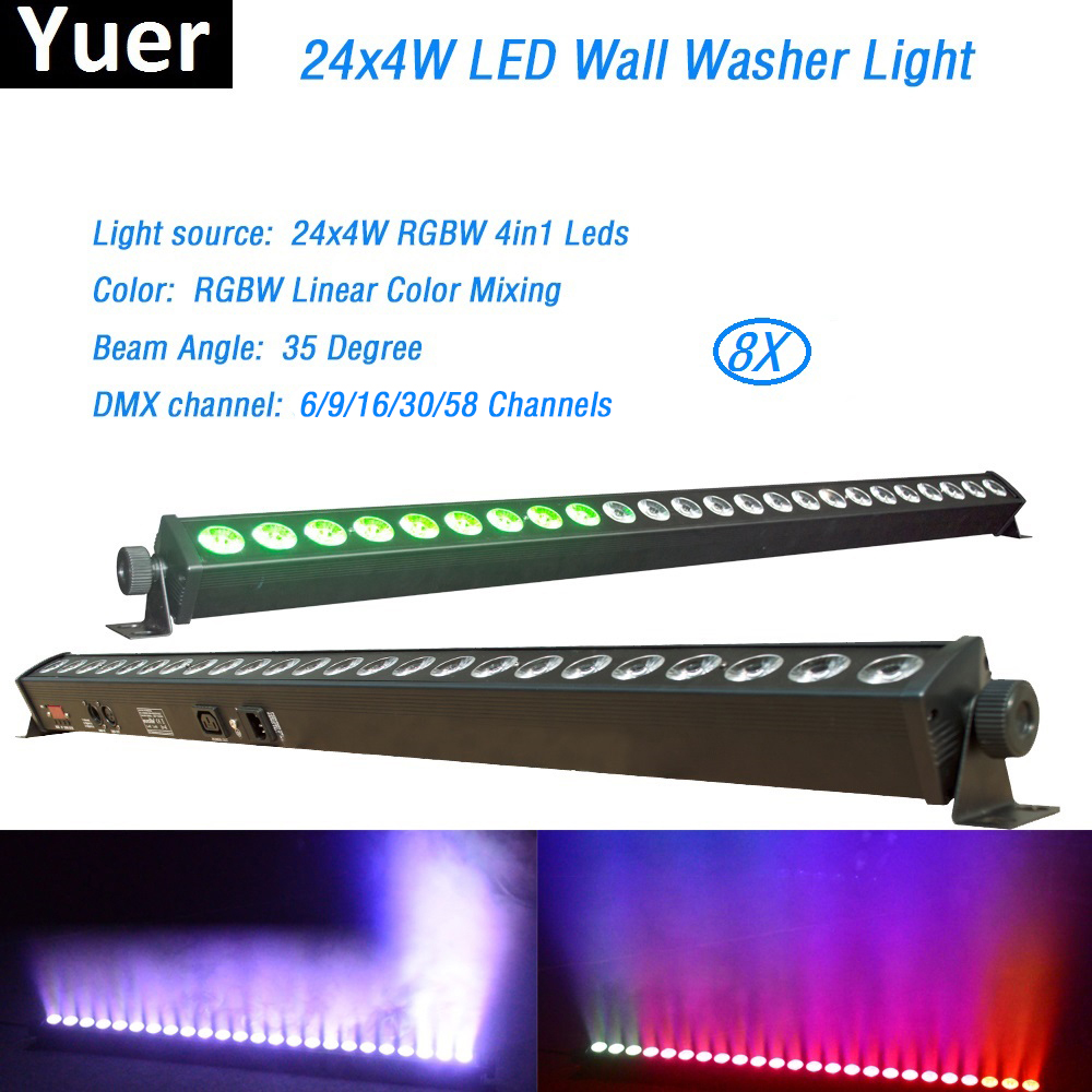 Free Shipping 8Pcs/Lot 24x4W High Quality Led Wall Washer Light RGBW Led Bar Light DMX Indoor LED Flood Down Lighting DJ Disco