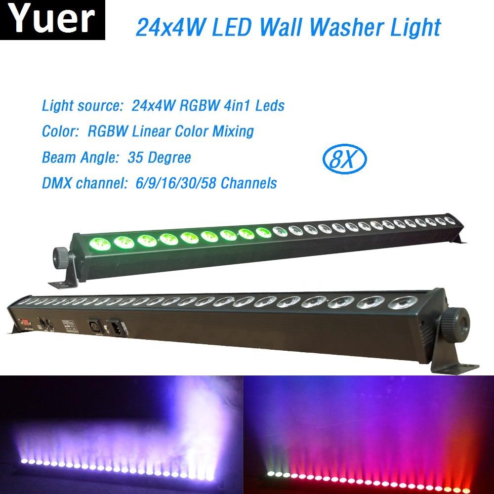 где купить Free Shipping 8Pcs/Lot 24x4W High Quality Led Wall Washer Light RGBW Led Bar Light DMX Indoor LED Flood Down Lighting DJ Disco по лучшей цене