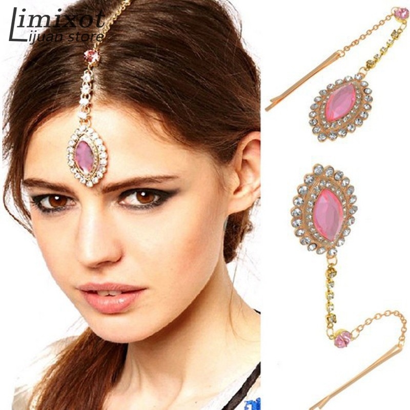 Lady Party Wedding Crystal Drop Bindi Hair Tikka Clip Indian Head Pin Accessory
