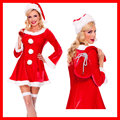 Merry Christmas Dress Women Hat Gift Bag Santa Clause Costumes Sexy Mini Dress Festival Cosplay Red Dress Winter Hot Suit