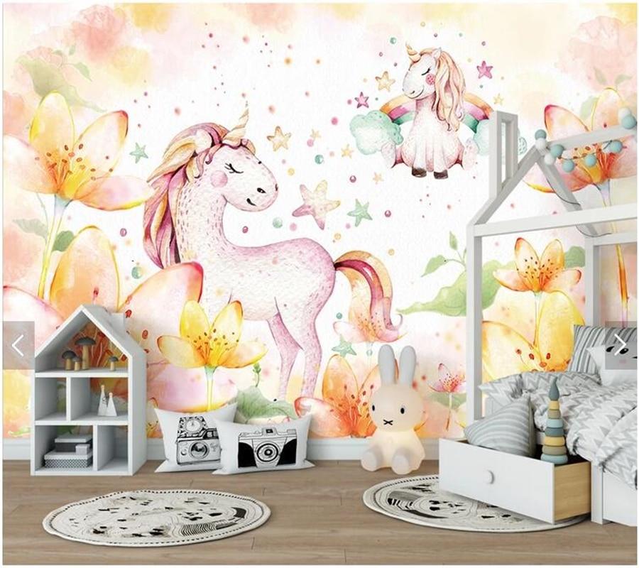 Papier peint personnalisé de parede infantil, fresque de cheval de rêve 3D pour chambre d'enfants canapé fond TV décor à la maison papier peint