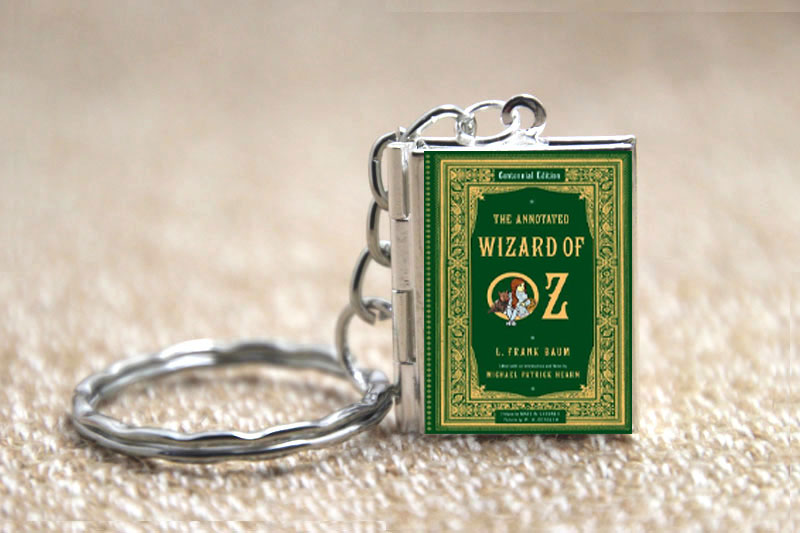 The Wizard of Oz Book cover Locket Necklace keyring silver & Bronze tone B1032