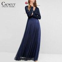 Elegant Sequin Gauze Dress Mesh Maxi Evening Party Dresses Floor Length Plus Size Stylish Dress Fashion