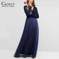 elegant Sequin Gauze Dress Mesh maxi Evening Party Dresses Floor Length Plus Size Stylish Dress Fashion 2017 Autumn Winter sexy