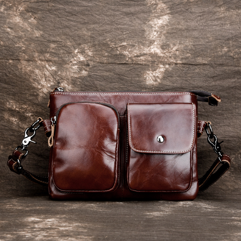 Crossbody Bags Handling Handle Oil Wax Calfskin men messenger bag Casual Bag Fashion Genuine Leather Men