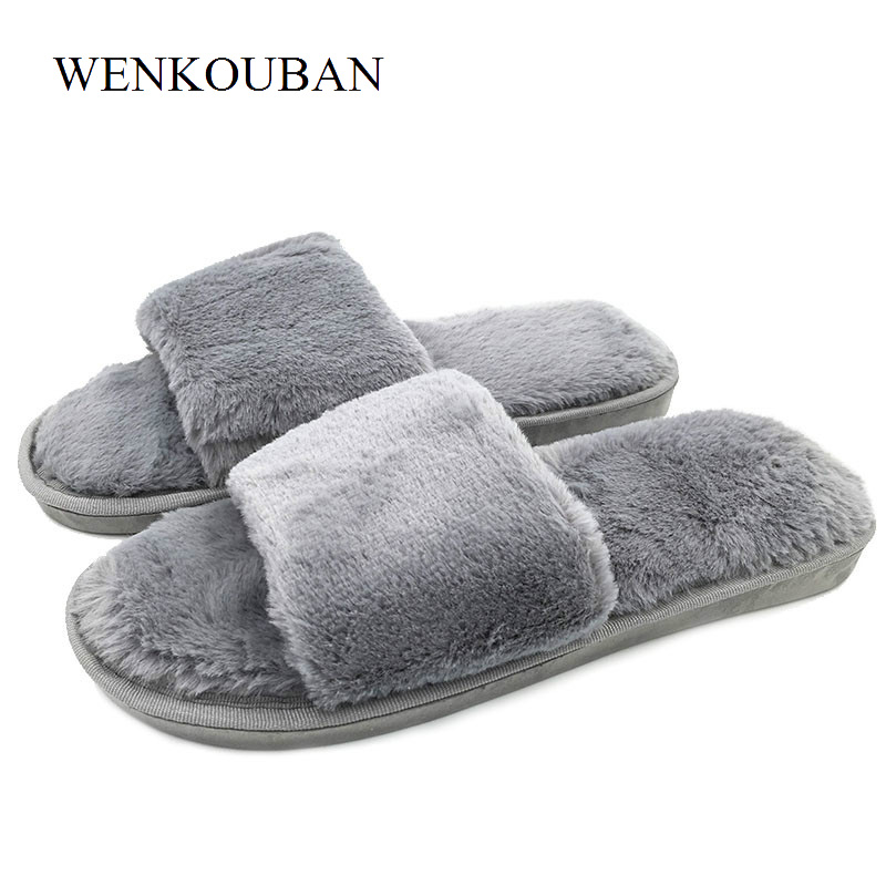 Women Fluffy Fur  Slippers Summer Slides Home Indoor Plush Slippers Cute Flat Shoes Zapatos Mujer vanled 2017 new fashion spring summer autumn 5 colors home plush slippers women indoor floor flat shoes free shipping