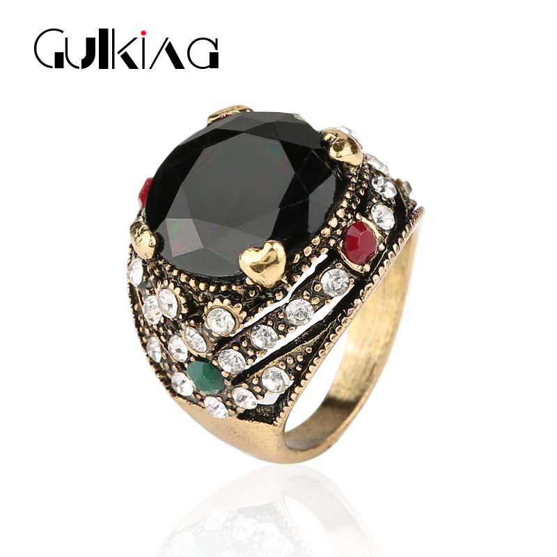 2016 new plated gold fashion rings women vintage jewelry Vintage style fashion rings