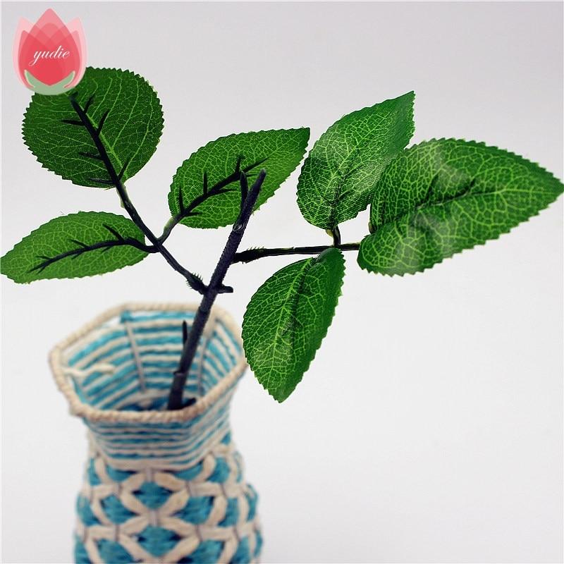 5 шт. 3 листья/шт Зеленый Искусственный ручной работы листьев для свадьбы украшения дома, DIY Скрапбукинг Флорес ремесло поддельные цветы