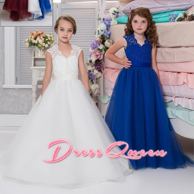2017 Royal Blue Flower Girl Dresses for Weddings V-Neck Ball Gown Lace Tulle Little Girl Pageant Dress Party Gown Vestidos Longo ball gown sky blue open back with long train ruffles tiered crystals flower girl dress party birthday evening party pageant gown