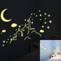 PVC Emitting Fluorescent Stickers Child Castle Moon Stars Clouds Wall Stickers Luminous Stars Glow In The