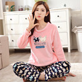 Mujer otoño invierno nuevos pijamas mujeres de franela de manga larga engrosamiento suéter del o-cuello ropa de dormir ropa Interior conjunto de salón