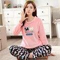 Mulheres outono novos pijamas de inverno feminino da longo-luva de flanela espessamento o-pescoço pullover sleepwear salão conjunto de roupa Interior