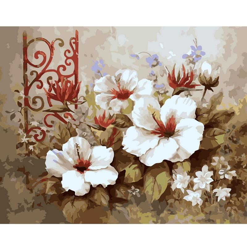 Buy modern style diy digital oil painting for Diy flower canvas wall art