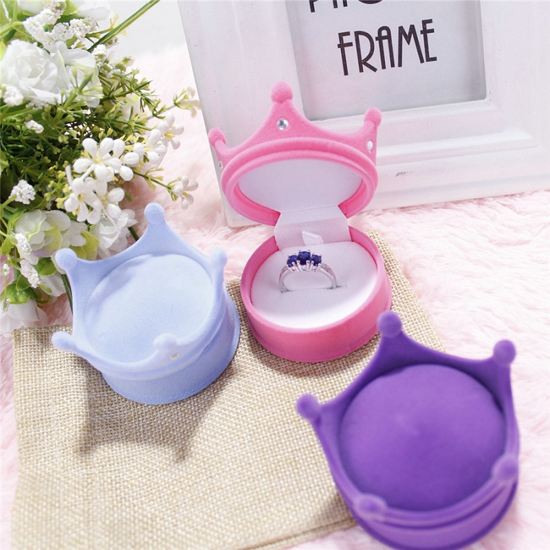 Jewery Organizer Box Rings/Earrings Storage Small Gift Box DIY craft Display Case Package Wedding/etc Crown shaped Princess wh