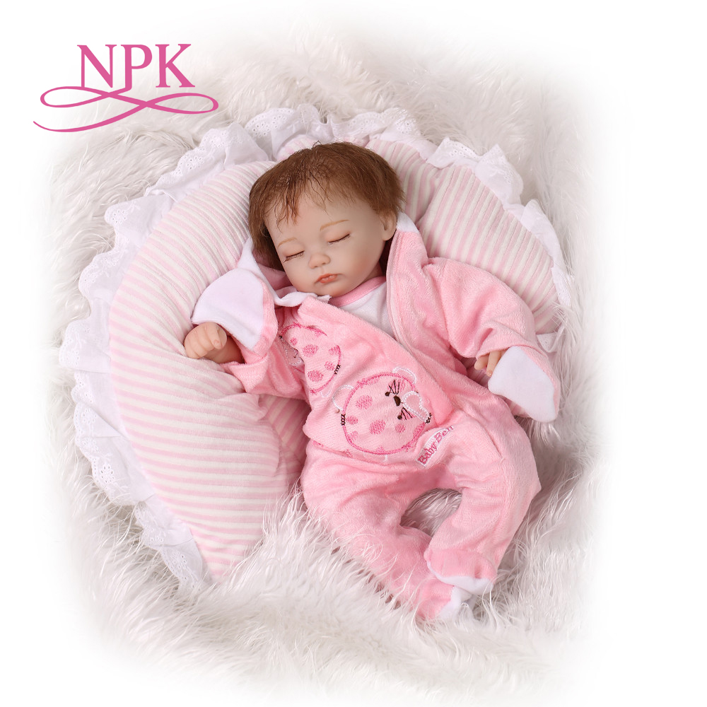 NPK 40cm silicone reborn baby doll toy play house bedtime toy for kids soft vinyl sleeping newborn girl babies doll